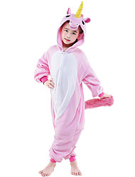 cheap -Kigurumi Pajamas Horse / Unicorn Onesie Pajamas Costume Flannel Toison Pink Cosplay For Kid's / Adults' Animal Sleepwear Cartoon Halloween