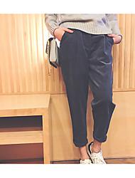 2016 autunno nuova versione coreana del colore harem pantaloni solidi piedi collant femminili era pantaloni di velluto sottili off