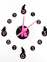 cheap -Classic Cartoon Fashion Creative Cartoon Cat DIY Clock Fun Combination DIY Hanging Clock Mute