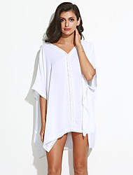 Women's Flare Sleeve Beach Simple Loose Dress,Solid V Neck Mini ¾ Sleeve White Cotton Summer