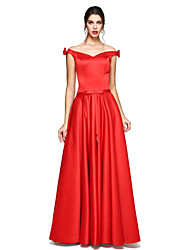 cheap -A-Line Off-the-shoulder Floor Length Satin Formal Evening Dress with Bow(s) by TS Couture®