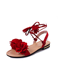 Women's Sandals Comfort PU Summer Casual Office & Career Comfort Lace-up Flat Heel Black Ruby Green Flat