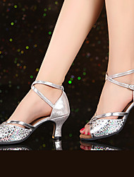 cheap -Women's Latin Shoes Sparkling Glitter / Patent Leather / Synthetic Heel Indoor Sparkling Glitter / Buckle / Flower Cuban Heel Non