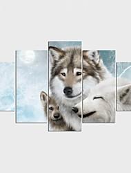economico -Stampe a tela Animali Stile Modern,Cinque Pannelli Tela Qualsiasi forma Stampa artistica Decorazioni da parete For Decorazioni per la casa