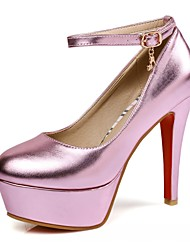 Heels Spring Fall Comfort Leatherette Office & Career Party & Evening Dress Stiletto Heel Buckle Pink Red Silver