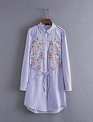 Women's Going out Casual/Daily Simple Street chic Loose Shirt Dress,Solid Striped Shirt Collar Above Knee Long Sleeve Silk Cotton Spring