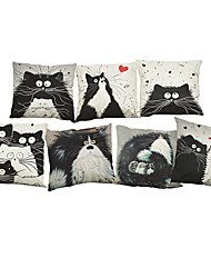 7 pcs Linen Pillow Cover Pillow Case,Solid Novelty Textured Wildlife Quotes & Sayings Casual Modern/Contemporary Office/Business