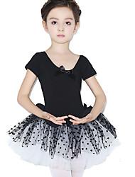 Danza classica Abiti Per bambini Addestramento Cotone Pizzo A pois 1 pezzo Maniche corte Naturale Calzamaglia