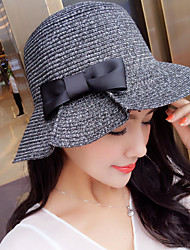 cheap -Women's Fashion Sweet Brim Floppy Straw Hat Sun Hat Beach Bucket Cap Bowknot Casual Holiday Outdoors Summer
