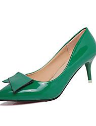 Women's Heels Comfort PU Spring Outdoor Comfort Stiletto Heel Silver Purple Ruby Green Blushing Pink 3in-3 3/4in