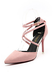 cheap -Women's Heels Comfort PU Spring Outdoor Comfort Stiletto Heel Black Gray Green Blushing Pink 4in-4 3/4in