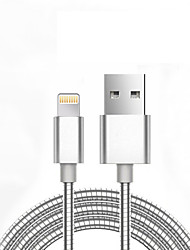 abordables -USB 2.0 Tressé Normal Câble Pour Apple iPhone iPad 98 cm Métal Aluminium