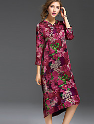 cheap -REVIENNE BAY Women's Going out Vintage Chinoiserie Shift Knee-length Dress, Floral V Neck Short Sleeves