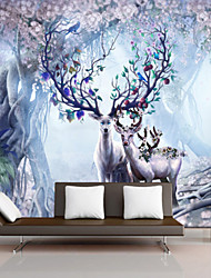 Art Deco Wallpaper For Home Wall Covering Canvas Adhesive required Mural Wonderland Forest Elk XXXL(448*280cm)
