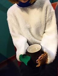 segno ~ coreano visone cashmere in flash polsini irregolari colpito maglione di colore di copertura maglione donna solida
