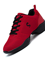 Women's Dance Shoes Fabric Fabric Dance Sneakers Sneakers Chunky Heel Practice Black Red White