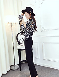 Women's Daily Work Street Classic & Timeless Autumn Shirt Pant Suits,Others Stand Long Sleeve Artistic Style Inelastic