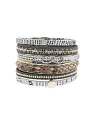 Bracelets en cuir Amitié Mode Bohême Fait à la main Cuir Strass Alliage Forme de Fleur Bijoux Pour Mariage Soirée Occasion spéciale