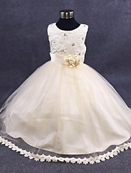 cheap -Ball Gown Ankle Length Flower Girl Dress - Organza Sleeveless Jewel Neck with Pearl by YDN