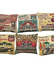 "Set of 6 New Fashion Retro Car Printed Cushion Cover Linen Cotton Throw Pillow Case (18""*18"")"