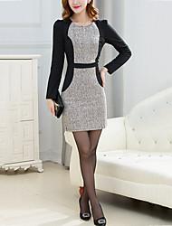 Women's Slim Bodycon Dress Color Block Patchwork Round Neck Mini Long Sleeve Cotton  Gray Spring Mid Rise