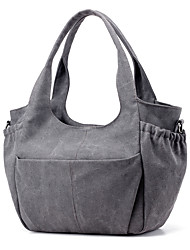 Women Bags All Seasons Canvas Tote for Casual Formal Outdoor Office & Career Professioanl Use Blue Gray Brown Dark Fuchsia