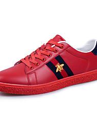 preiswerte -Herren-Sneaker-Outddor Lässig-Leder-Flacher Absatz-Komfort-Schwarz Rot Weiß