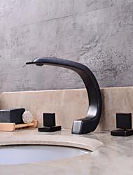 abordables -Moderne Diffusion large Séparé Soupape céramique Trois poignées trois trous Bronze huilé , Robinet lavabo