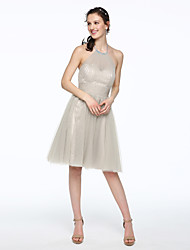 cheap -A-Line Jewel Neck Knee Length Tulle Bridesmaid Dress with Beading Pleats by LAN TING BRIDE®