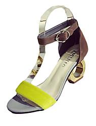 Damen High Heels Komfort PU Frühling Sommer Normal Kleid Komfort Spulen Absatz Schwarz Gelb 5 - 7 cm