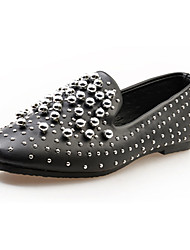 cheap -Women's Flats Comfort Slouch boots PU Spring Fall Casual Walking Comfort Slouch boots Rhinestone Flat Heel White Black Sliver Flat