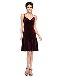 A-Line Spaghetti Straps Knee Length Velvet Bridesmaid Dress with Pleats by LAN TING BRIDE®
