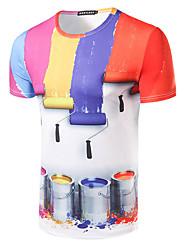 Herren Druck Einfach Lässig/Alltäglich T-shirt,Rundhalsausschnitt Kurzarm Rot Baumwolle