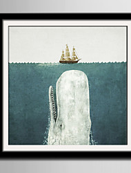 E-HOME® Framed Canvas Art Whale And Ship Framed Canvas Print One Pcs