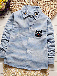 Boy's Going out Casual/Daily Holiday Striped Embroidered Shirt Blouse Cotton Spring/Fall Long Sleeve Regular Children's Garments