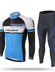 XINTOWN Cycling Jersey with Tights Men's Long Sleeves Bike Pants / Trousers Tracksuit Zip Top Jersey Top Bottoms Clothing Suits Quick Dry