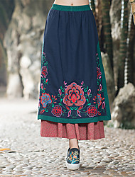 cheap -Daily Holiday Going out Midi Skirts,Vintage Cute Chinoiserie A Line Cotton Floral Print Rainbow Winter Spring