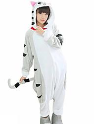 Kigurumi Pajamas Cat Leotard/Onesie Festival/Holiday Animal Sleepwear Halloween Gray Patchwork Flannel Fabric Cosplay Costumes Kigurumi