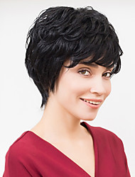 Thick Short Natural Wavy Black Capless Human Hair Wig For Girls And Women 2017