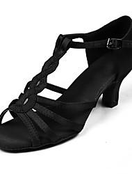 Scarpe da ballo-Personalizzabile-Da donna-Balli latino-americani-Tacco su misura-Raso Tessuto-