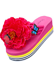 cheap -Women's Shoes PU Summer Slippers & Flip-Flops Flat Heel Round Toe Flower for Outdoor Black / Yellow / Fuchsia