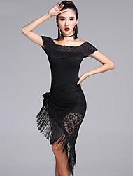 Latein-Tanz Austattungen Damen Vorstellung Spitzen Modal Spitze 3 Stück Kurze Ärmel Niedrig Top Unterhose Schal