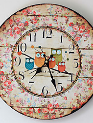 Traditional Country Antique Retro Holiday Family Five Owls Wall ClockNovelty Wood Plastic 35*35 Indoor/Outdoor Indoor Clock