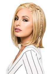 A Chin Length Straight Bob Hairstyle Front Lace Wig Blonde Human Hair Heat-Friendly
