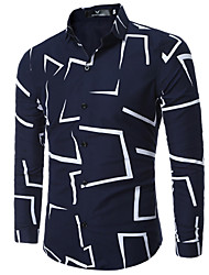 Men's Casual/Daily Work Plus Size Simple Spring Fall Shirt,Print Classic Collar Long Sleeves Cotton Medium