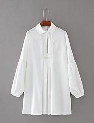 billige -Dame Gade Løstsiddende Swing Skjorte Kjole - Ensfarvet, Udhulet Mini