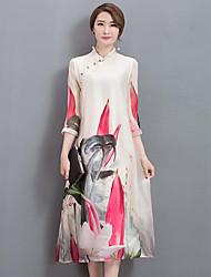 Balançoire Robe Femme Décontracté / Quotidien Habillées Vintage Chinoiserie,Fleur Mao Mi-long Manches ¾ Blanc Soie Printemps EtéTaille