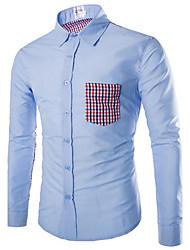 Hombre Simple Casual/Diario Trabajo Verano Camisa,Cuello Camisero Bloques Retazos Manga Corta Algodón Azul Blanco Multicolor Medio