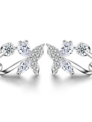 cheap -925 Sterling Silver Necklace AAA Cubic Zirconia Stud Earrings Jewelry Butterfly Party Daily Casual Sterling Silver 1 pair Silver