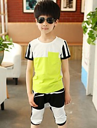 Boy's Going out Casual/Daily/Sports Striped Patchwork Cotton Summer Short Sleeve Middle Pants 2 Piece Clothing Set Children's Garments